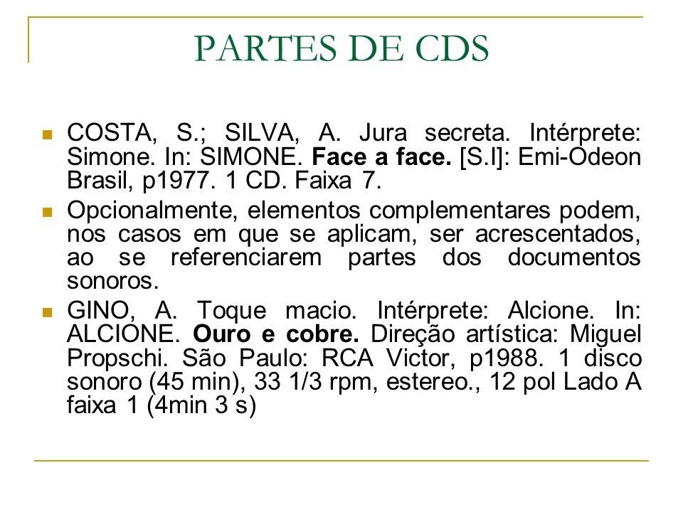 PARTES DE CDS COSTA, S.; SILVA, A. Jura secreta. Intérprete: Simone. In: SIMONE. Face a face. [S.I]: Emi-Odeon Brasil, p1977. 1 CD. Faixa 7.